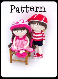 Pattern Crochet Boy and Girl Dolls от TootyLou на Etsy, $10.00