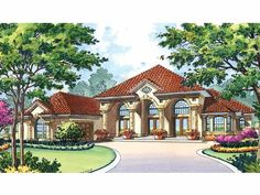 Mediterranean House Plan with 3445 Square Feet and 4 Bedrooms(s) from Dream Home Source | House Plan Code DHSW56194
