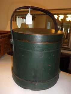 Antique firkin with old, dry green paint -- a beauty! SOLD