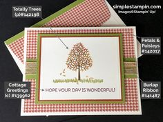 Stampin' Up! Fall Card, Totally Trees Photopolymer, Cottage Greetings,Burlap Ribbon,Project details,Susan Itell - simplestampin