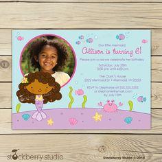 Mermaid Birthday Invitation Printable African por stockberrystudio