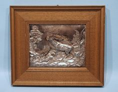 Antique Silver Hunt Wall Plaque Stag Fight Forest High Relief Walnut Frame #ArtNouveau