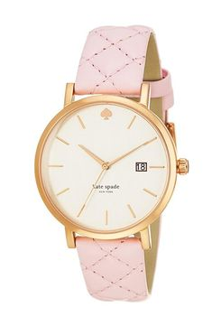 kate spade new york Women's Metro Grand Light Pink Quilted Leather Strap Watch - Women's Watches - Jewelry & Watches - Macy's Tout Rose, Jewelry Accessories, Fashion Accessories, Kate Spade Watch, Pink Quilts, Pink And Gold, Rose Gold, Bracelets, Jewelry Watches