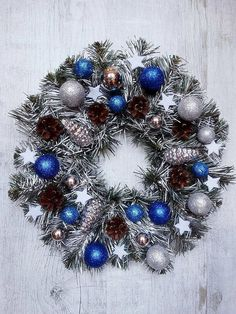 A Large Wreath Christmas Wreath Silver Wreath Winter by MDECOR1979