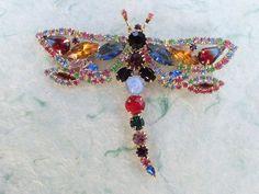 Vintage Dragonfly brooch colorful rhinestones figural AB837 by MeyankeeGliterz on Etsy
