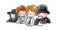 FanArt - BTS: Suga, Jin, V e J-Hope [210517] por @YourHobi no Twitter