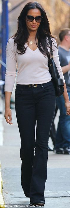 Sheer jean-ius: Despite her love of food she managed to fit into her tight bell bottom denims