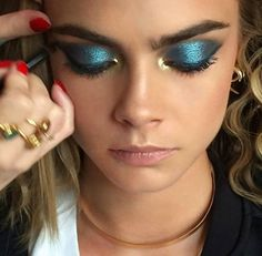 Lisa eldridge cara delevigme metallic teal bold eyes gold inner corner