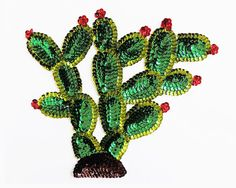 Lovely large Mexican NOPAL Cactus Sequin applique patch (note I have more cactus designs listed) made with red, brown & two shades of green sequins,