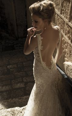 Destination Style - Designer Spotlight: Galia Lahav Pricilla Tight lace mermaid dress with a sheer back. Pearl strands falling along the back. Mixture of blush, ivory and antique silver fabric layers....