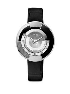 Fendi Policromia Diamond, Stainless Steel & Alligator Strap Watch