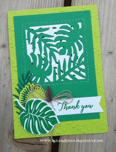 Tropical Clover Leaves - Colours: Call Me Clover, Lemon Lime Twist, Shaded Spruce. Stampset: Tropical Chic. Others: Tropical Dies, Linnen Thread, Tropical Elements. CASE the Catty :) Stampin' Up! by Sandra Kleine