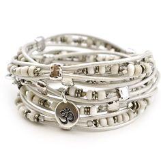 Tendance Bracelets  Clarity- African Trade Bead 5 Wrap Leather Bracelet  Beadshop.com