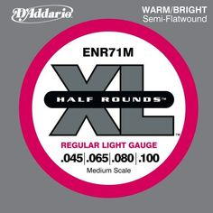 "D'Addario ENR71M Half Round Bass Guitar Strings, Regular Light, 45-100, Medium Scale by D'Addario. $22.99. From the Manufacturer                ENR71M's combine the playability of common 45-100 gauged sets with the benefits of an exclusive ""Half Round"" manufacturing process. This set is fit for medium scale basses with a string scale length of up to 34 inches. D'Addario Half Round bass strings are wound with pure nickel, then precision ground, leaving the outer surface smooth..."