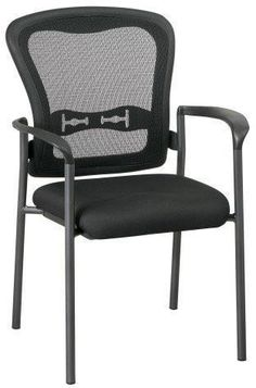 534373b1a Office Star Pro-line Ii 84510-30 Titanium Finish Visitors Chair With Arms  And Progrid® Back