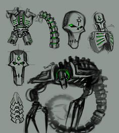 """tomis-jb: """" Back home and starting off Warhammer 40k week with my favorite Robo-skeletons- THE NECRONS. I'm working on some sketches to get in the right mood, and mmmmmm sure is working :) totally not my favorites in the whole wide world I might be..."""