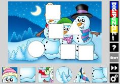 Winter Shape Puzzles Shape Puzzles, Winter Games, Christmas Clipart, Snoopy, Clip Art, Shapes, Education, Fictional Characters, Teaching