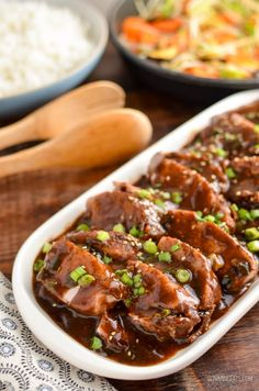 Tender Slow Cooked Teriyaki Pork Tenderloin a easy throw in the slow cooker Low Syn meal that is perfect for the whole family. Gotta love slow cooker meals right? Super convenient and easy when you Slow Cooker Pork Tenderloin, Pork Tenderloin Recipes, Japanese Pork Tenderloin Recipe, Pork Roast, Roast Brisket, Pork Chops, Slimming World Pork Recipes, Slow Cooker Slimming World, Slow Cooked Pork