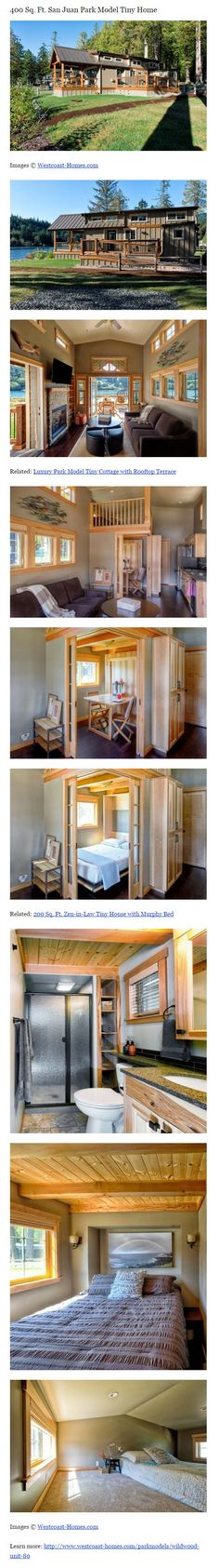 San Juan Park Model Tiny Home. Love the interior. The closed up bedroom. The closed up dining room. The open source in the living room. Tiny House Nation, Little Houses, Tiny Houses, Tiny House Living, Small Living, Tiny House Movement, Tiny Spaces, Tiny House Plans, Tiny House Design