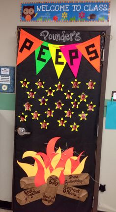Boosterthon fun run door decorating contest. Camp high five. Used poster lights to light up the fire. Our class won!