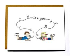 I miss you card - kids with tin cans, thinking of you card by DarkroomandDearly on Etsy https://www.etsy.com/listing/126868852/i-miss-you-card-kids-with-tin-cans