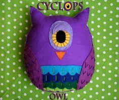 Cyclops Owl - Handmade Felt Plush Toy