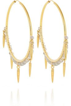 Chan Luu Gold-plated labradorite hoop earrings | NET-A-PORTER