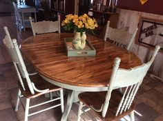 I rescued and restored this beautiful solid oak table and chairs with Amy Howard One Step Paint in Lou Lou, waxed with Light and Dark Antique Wax. #RescuedRestorations #OneStepAway