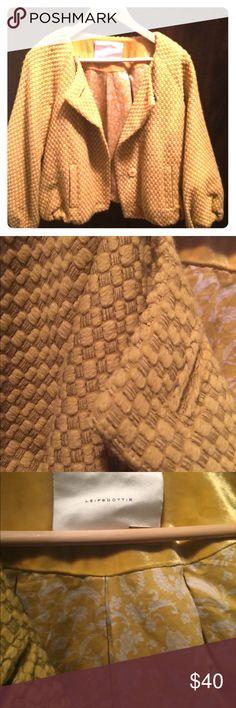Women's Leifsdottir Wool jacket Anthropologie Leifsdottir Cropped jacket Yellow tweed pattern jacket Leifsdottir Jackets & Coats Blazers
