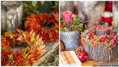 Прикрашаємо школу та садочок до Свята осені: 28 фото-ідей   Ідеї декору Basket Weaving, Fall Decor, Wreaths, Table Decorations, Flowers, Red, Pillows, Home Decor, Crates