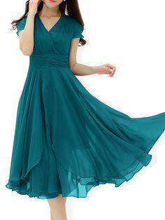 Plain Charming V Neck Maxi Dress