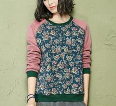 Vintage color block flower sweatshirt for women raglan sleeve sweatshirts