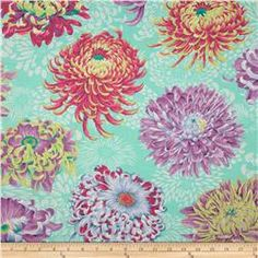 Kaffe Fassett Collective Floating Mums Duckegg