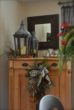 Black and White Plaid ribbon with rustic holiday decor.