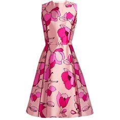 Oscar De La Renta Floral-print silk-mikado midi dress ($916) ❤ liked on Polyvore featuring dresses, pink silk dress, pink fit-and-flare dresses, flower print dress, pink dress and lace up dress