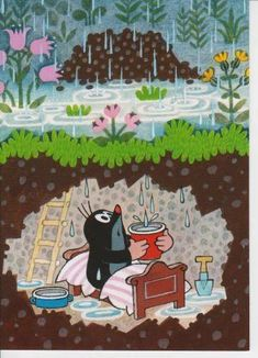 Krtek the cute little mole. This animation series created a precious early-childhood memory. La Petite Taupe, Typography Prints, Stories For Kids, Illustrations And Posters, Children's Book Illustration, Drawing For Kids, Mole, Childhood Memories, Early Childhood