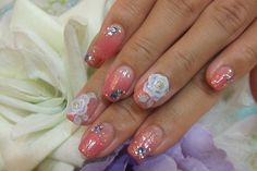 rose sparkle jew pink nail art