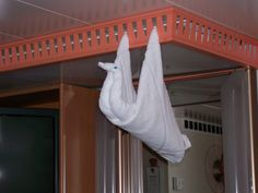 Carnival cabin stewards put a different towel creation in your cabin each night. Carnival Legend, Towel Animals, How To Fold Towels, Bliss, Origami, Cruise, Bedding, Cabin, Bath
