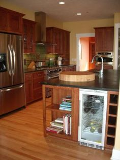 Kitchen with espresso stained cherry cabinets, granite counter ...