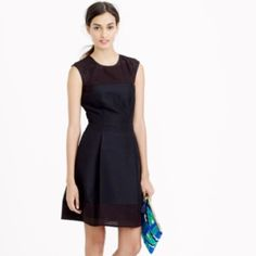 """Black J. CREW Dress! Classic black dress. Flirty A-Line. Flattering fit. Falls above the knee 36 1/4""""  from high point of shoulder. Cotton/silk with poly/elastane chest and trim. Never worn! J. Crew Dresses"""