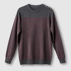 Striped Jumper with Button Fastening CASTALUNA FOR MEN
