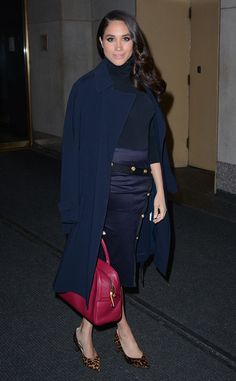 Navy at Night from Meghan Markle's Best Looks The actress proves that she looks great in navy as she exits the Today show studios in this Veronica Beard ensemble.