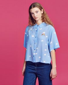 Lazy Oaf Crop Cloud Shirt - Clothing - NEW IN - Womens