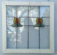 Pretty Handmade Red Flowers Stained Glass Window by PetersInc