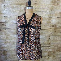 NEW ROBERT GRAHAM Womens L Lulu Silk Sleeveless Multi Pattern Bow Tie Top Blouse  | eBay