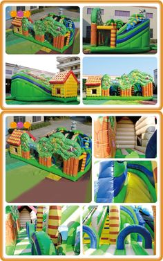 AQ13167 (10*6*6M   32.80'*19.69'*19.69') Enjoy your time in the sun with the mysterious fun city.This slide combines an inflatable bouncer house with a novle design .