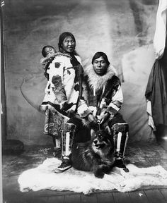 Inuit family and dog    Image No: ND-1-73    Title: Inuit family and dog, Nome (?), Alaska.    Date: [ca. 1903-1915]