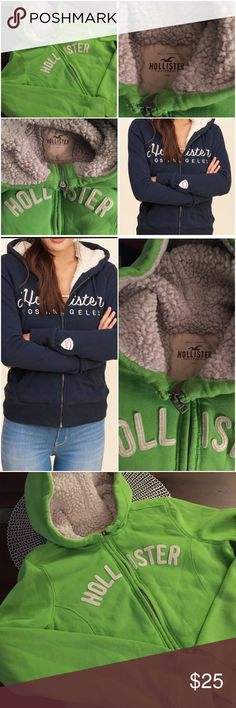 Kelly Green Hollister Hoodie with Sherpa Lining Kelly Green Hollister Zipper Hoodie with Sherpa Lining - Drawstring Missing!  Other than the missing drawstring the Hoodie is in EUC. Hollister Jackets & Coats