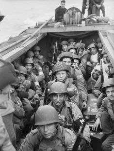American troops on board a landing craft heading for the beaches at Oran in Algeria during Operation 'Torch', November 1942