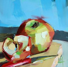 Apples no. 10 original still life fruit oil painting by Angela Moulton 6 x 6 inch on panel prattcreekart